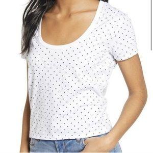 NWOT BP white polka dot scoop neck t shirt
